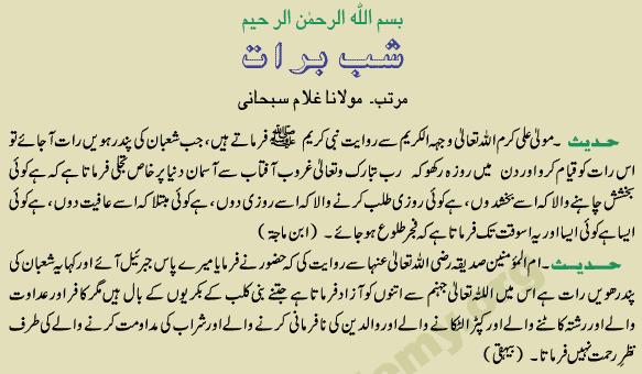 Shab E Barat Ki Fazilat in Urdu
