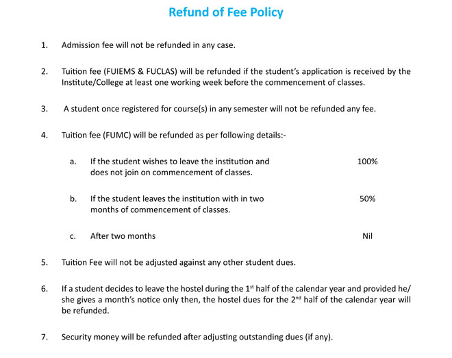 FUCLAS fee structure