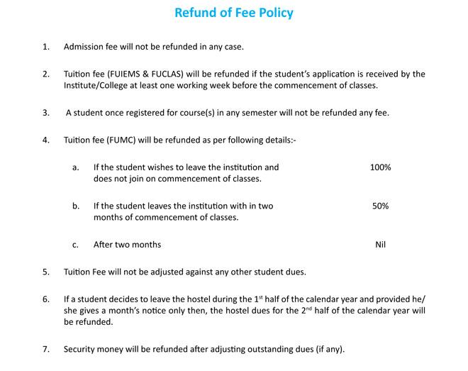 FUCLAS fee structure