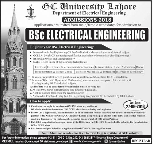 GCU Lahore BSC Electrical Engineering Admission 2018 Merit List