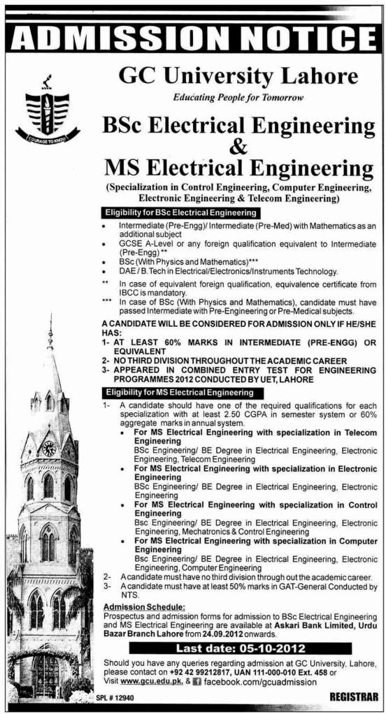 GC University Lahore B.Sc & MS Electrical Engineering Admissions 2012