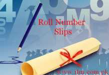 Lahore Board Matric Supplementary Date Sheet 2017 & Roll Number Slips