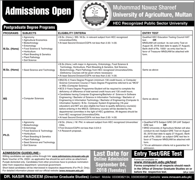 Muhammad Shahbaz Sharif University of Agriculture, Multan Admissions 2018