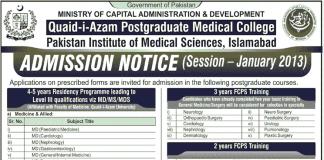 Quaid-i-Azam Postgraduate Medical College Admissions 2012