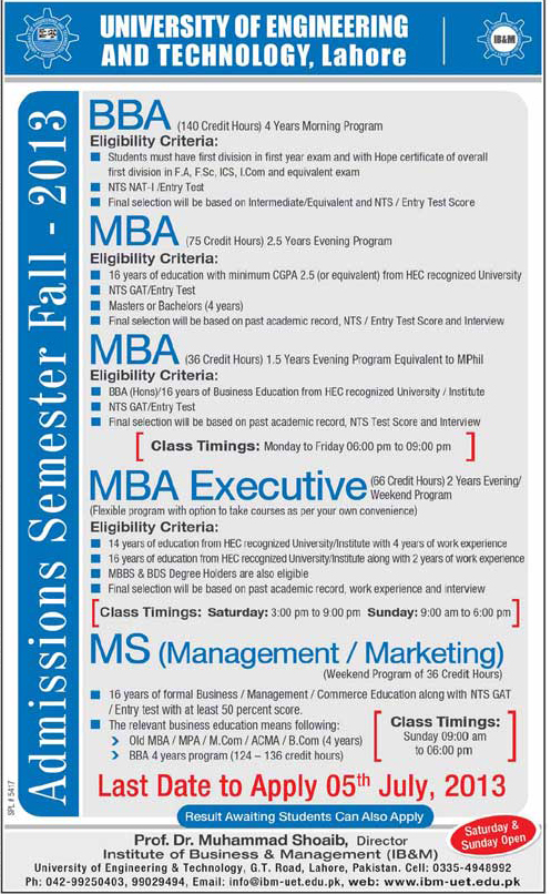 UET, Institute of Business & Management Lahore Admissions 2013