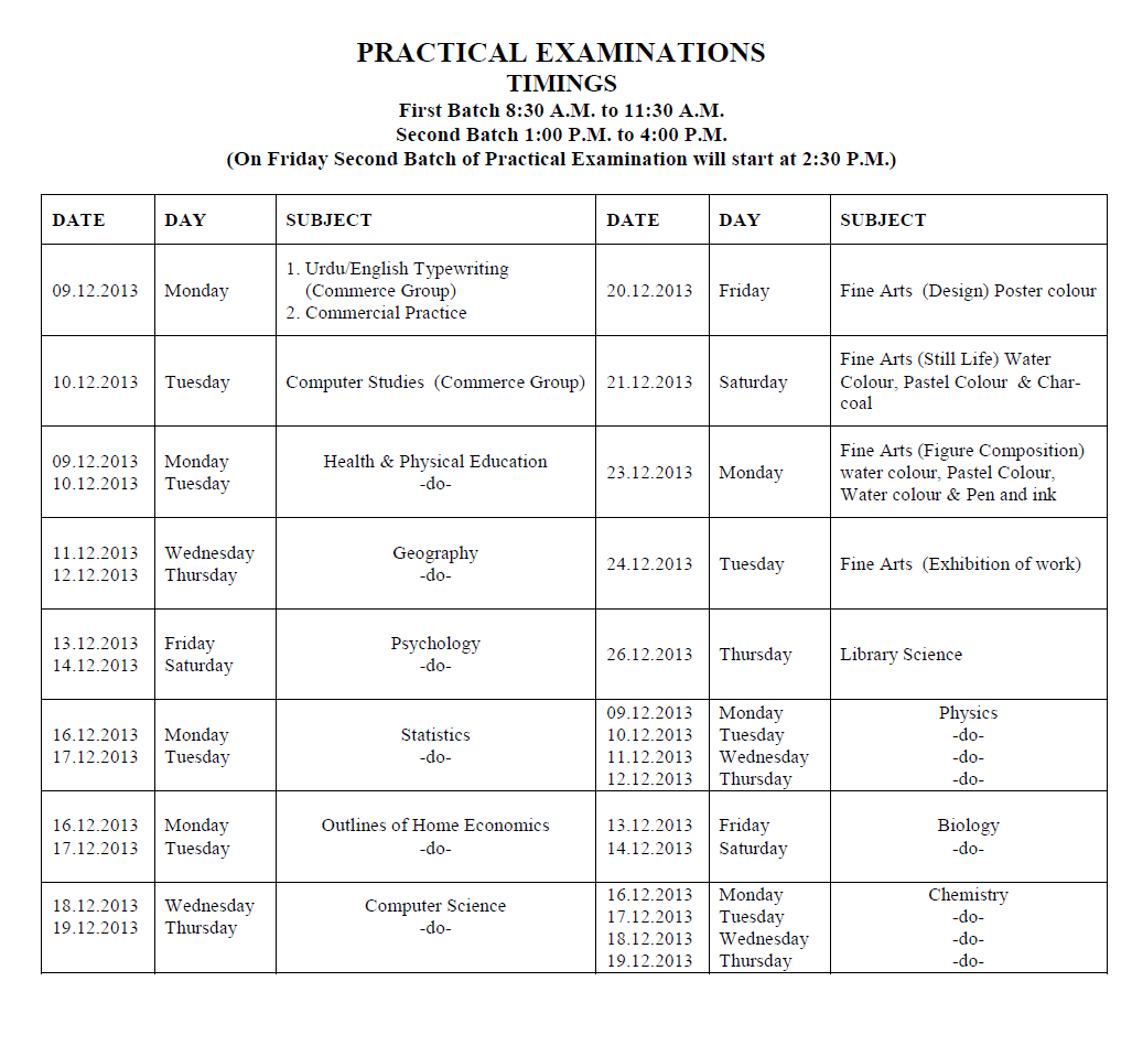 BISE Lahore Intermediate Supplementary Practical Exam Date sheet 2014