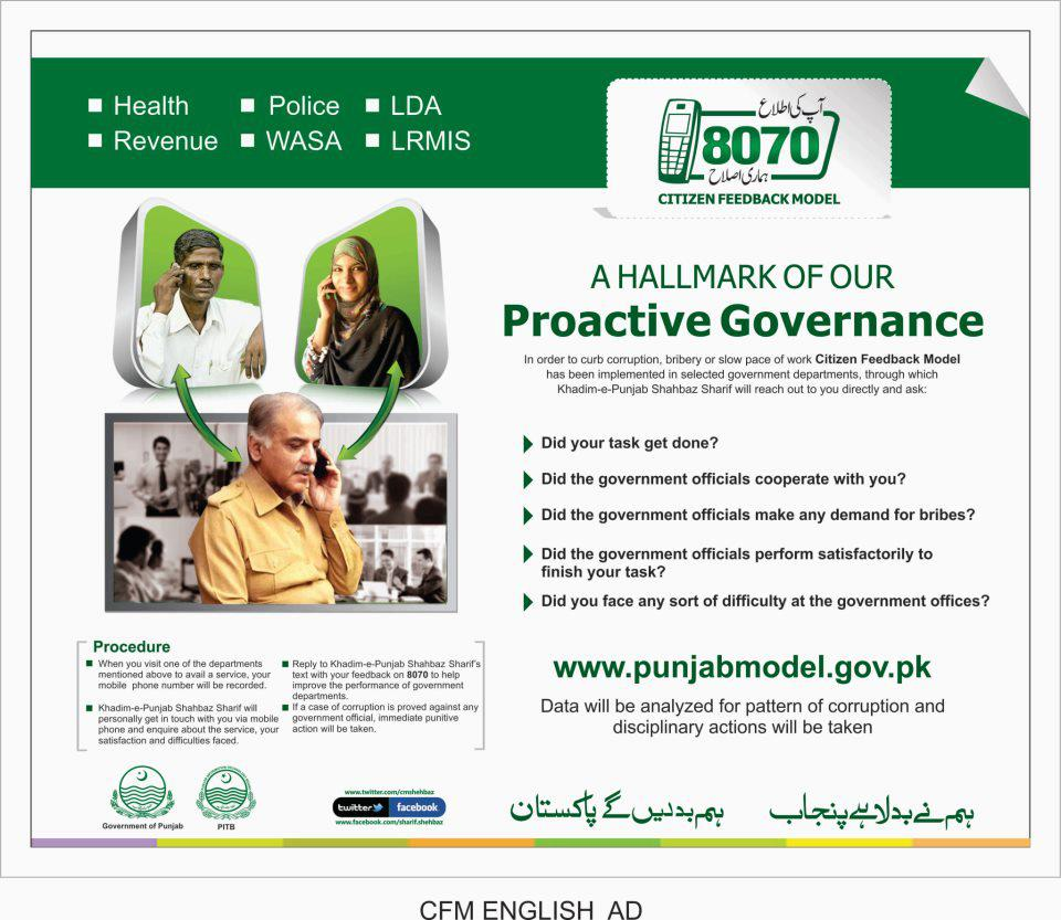Shahbaz Sharif Citizen Feedback System For Complaint In Punjab