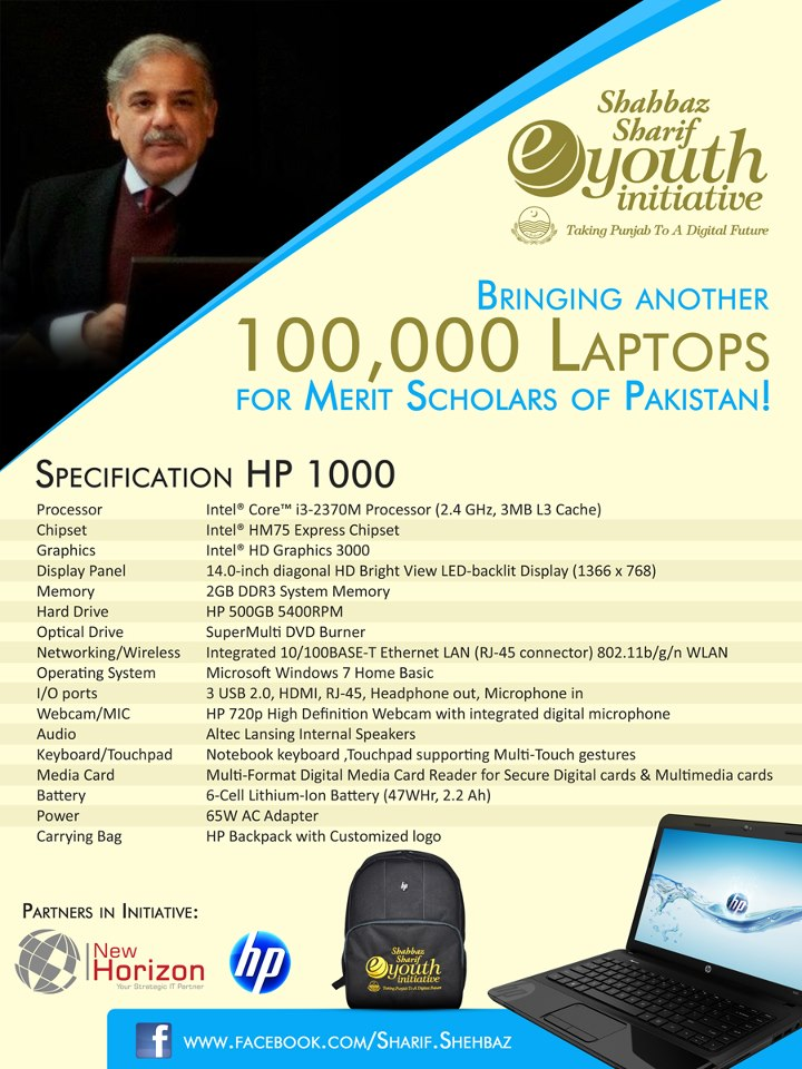 Shahbaz Sharif Laptops Scheme For Evening Students 2012-13