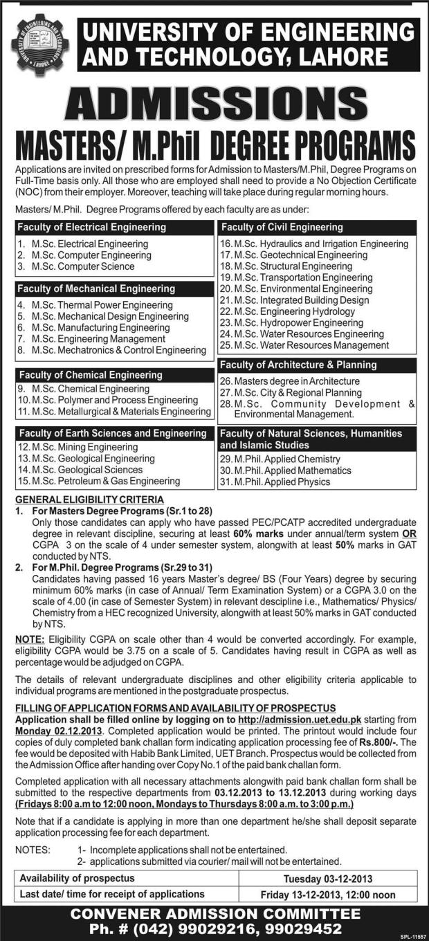 UET Lahore Master, MSc, M.Phil Admission 2014