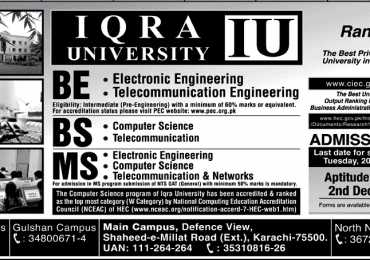 Iqra University Entry Test Result Fall 2021 Date
