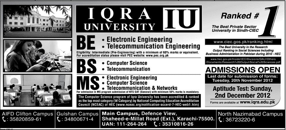 Iqra University Karachi Admission 2012