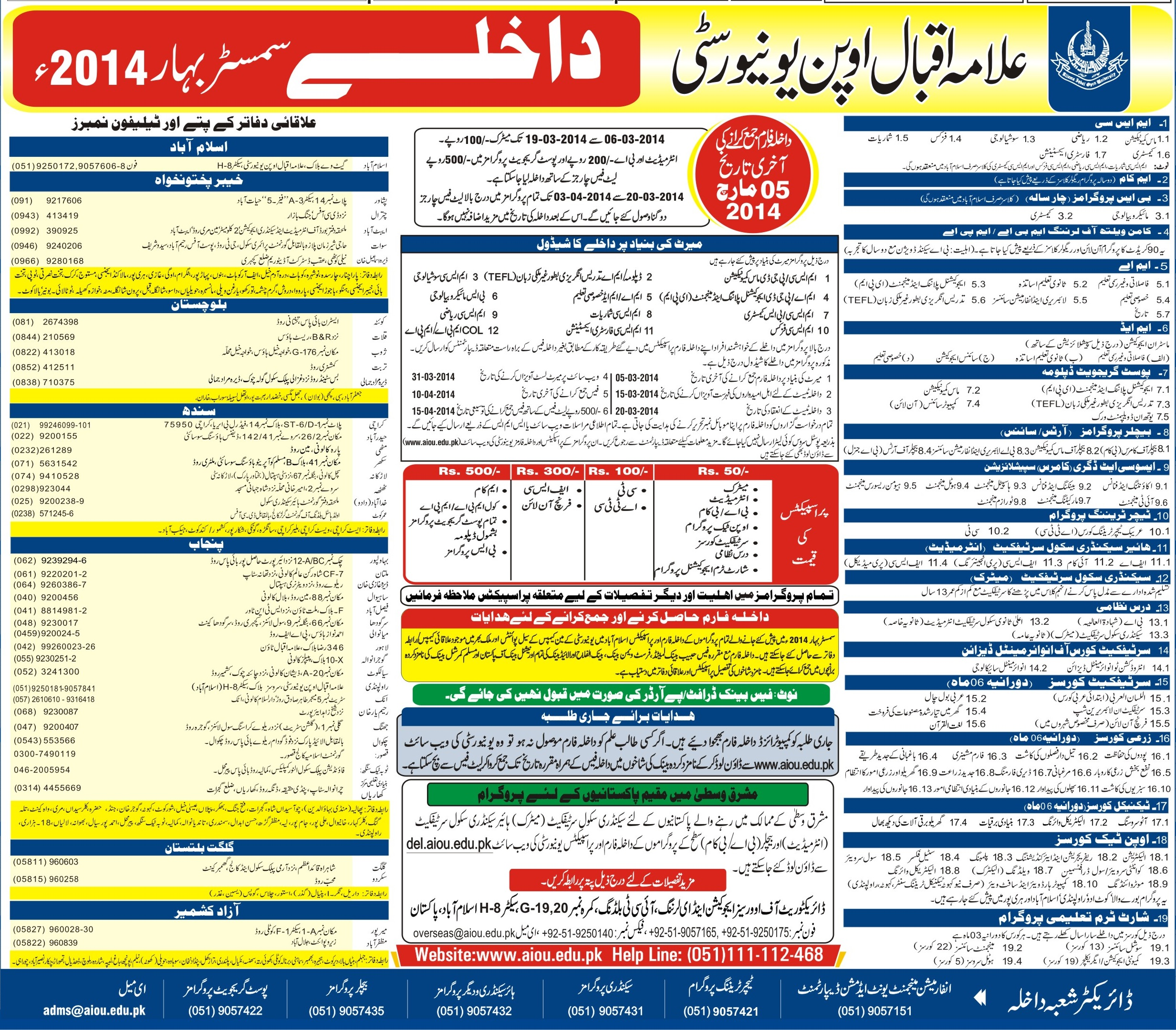 Allama Iqbal Open University Islamabad Spring Admission 2014