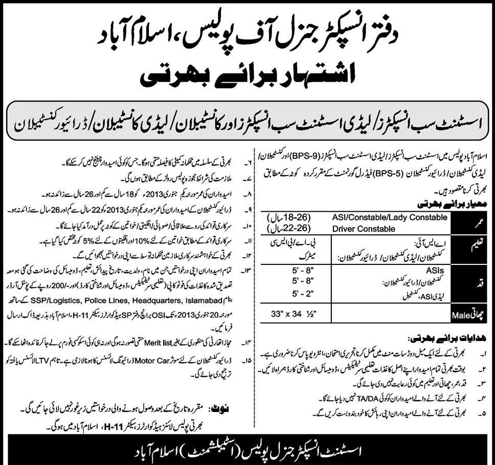 Islamabad Police Assistant Sub Inspector and Constable Jobs 2013 for Male, Female