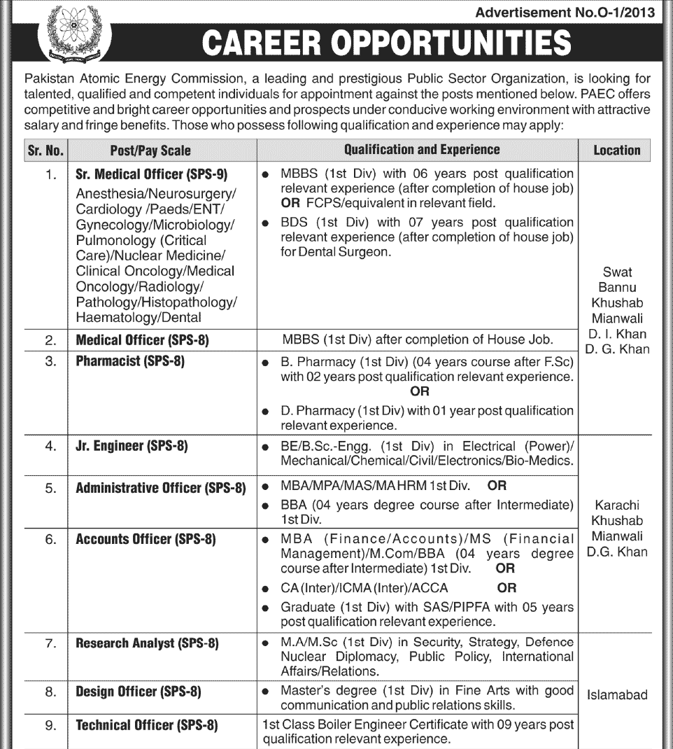 Pakistan Atomic Energy Commission Jobs 2013