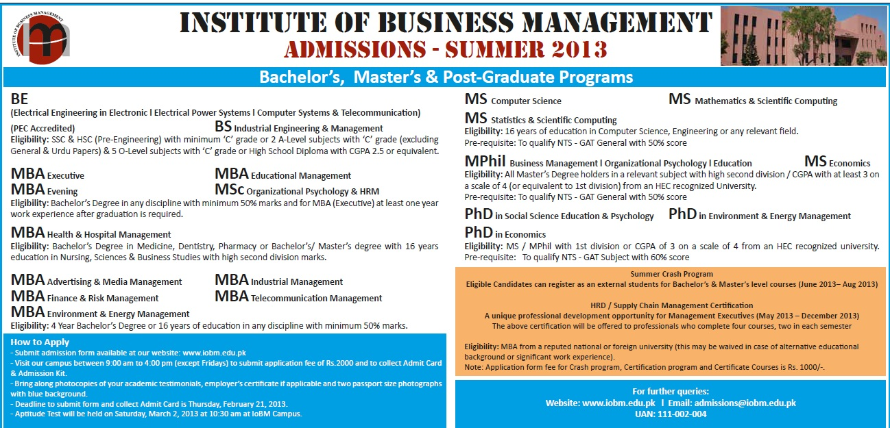Institude of Business Management IOBM Summer Admission 2013