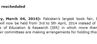 Punjab University Book Fair 2014 On 3 to 5 April