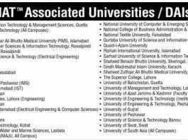 NAT Associated Universities In Pakistan List For Medical / Engineering