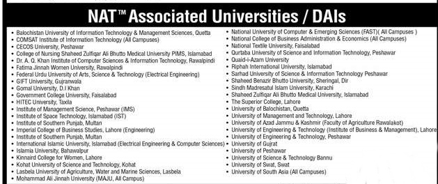 NAT Associated Universities In Pakistan List For Medical / Engineering