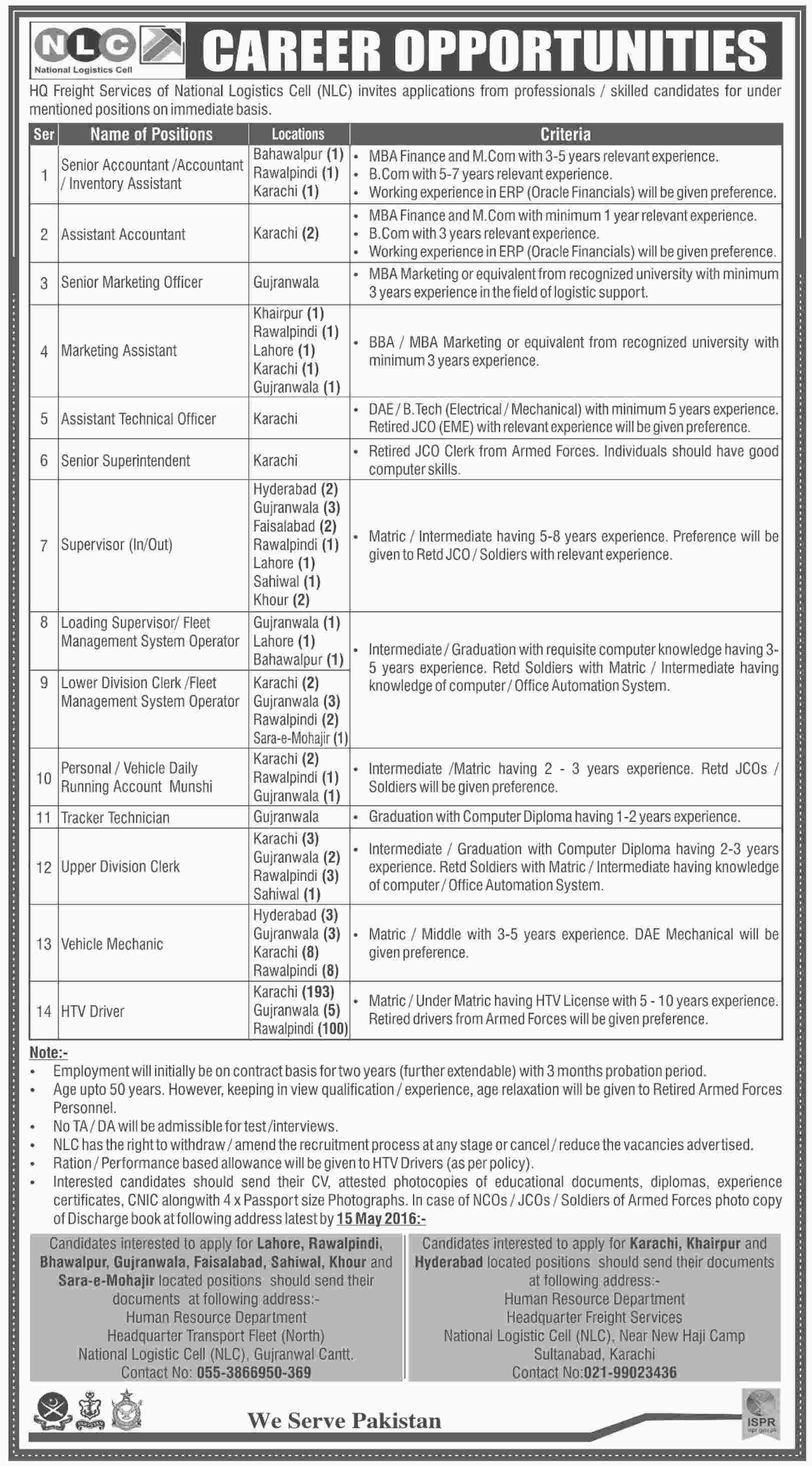 National Logistics Cell NLC Jobs In Pakistan 2016