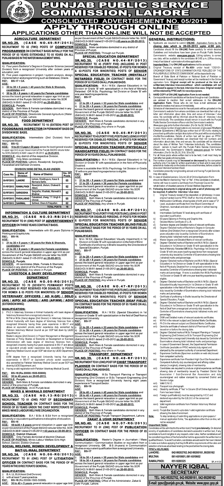 Punjab Public Service Commission PPSC Jobs April 2013