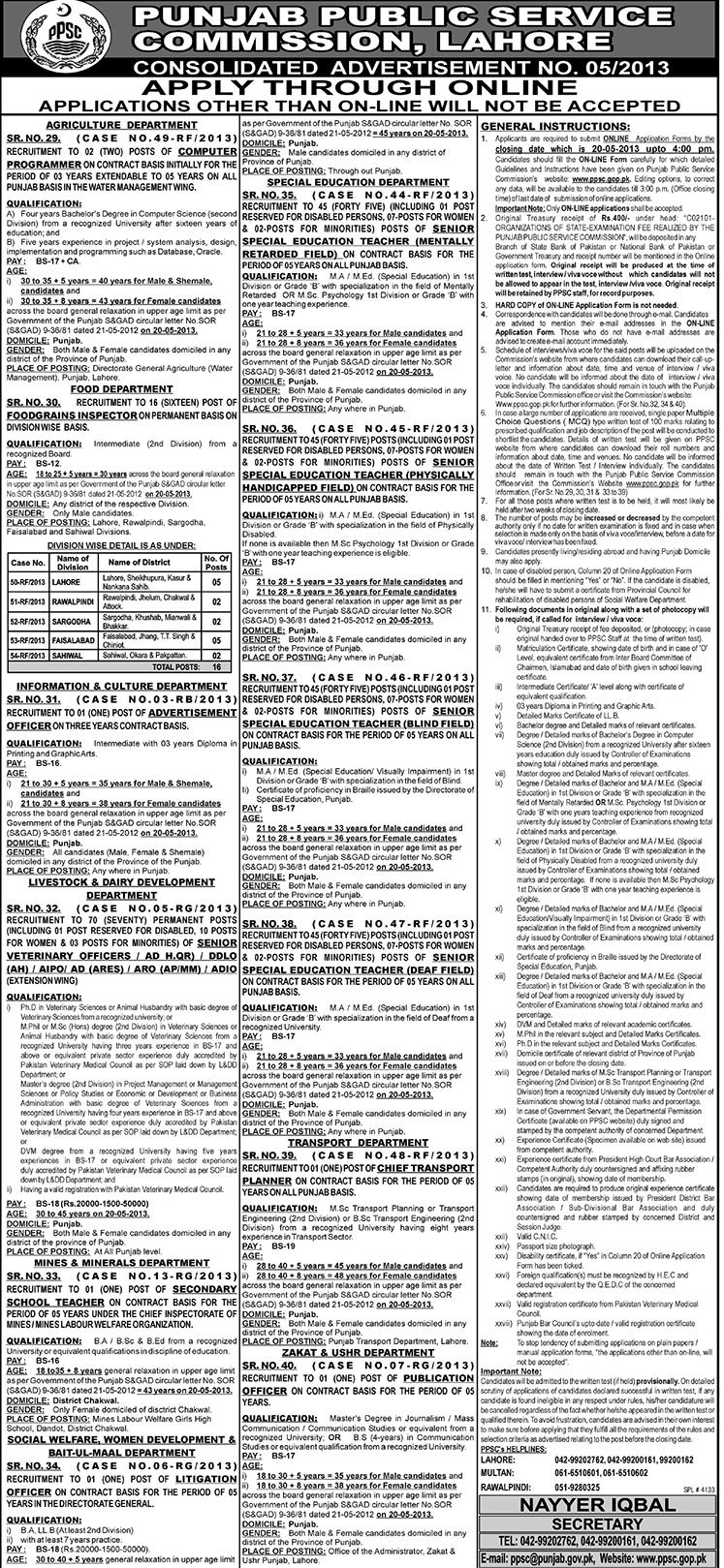 Punjab Public Service Commission PPSC Jobs April 2013