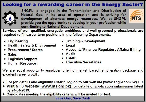 Sui Northern Gas Pipelines Limited SNGPL jobs 2013