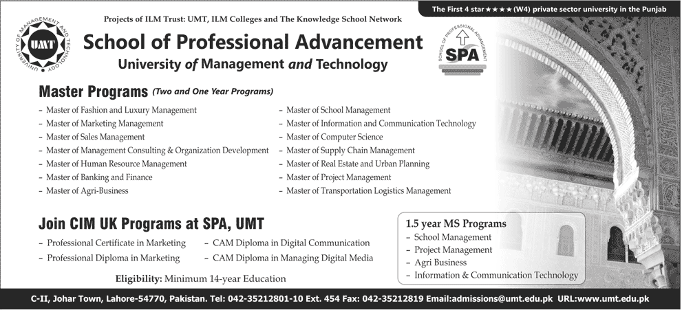 UMT School of Professional Advancement SPA Admission 2013