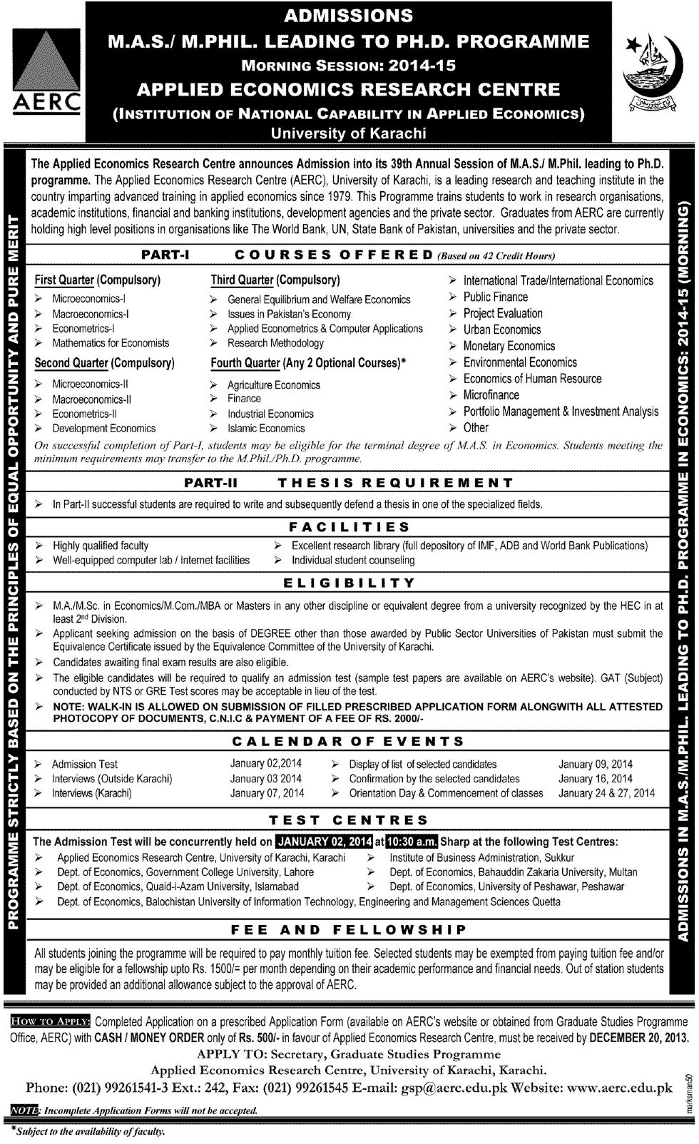 University of Karachi UOK MS, MPhil, PhD Admission 2014
