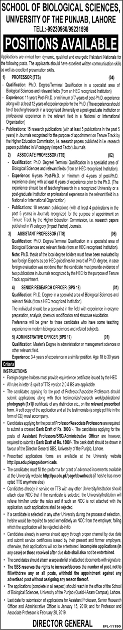 University of Punjab PU Associate Assistant Professor Jobs 2018