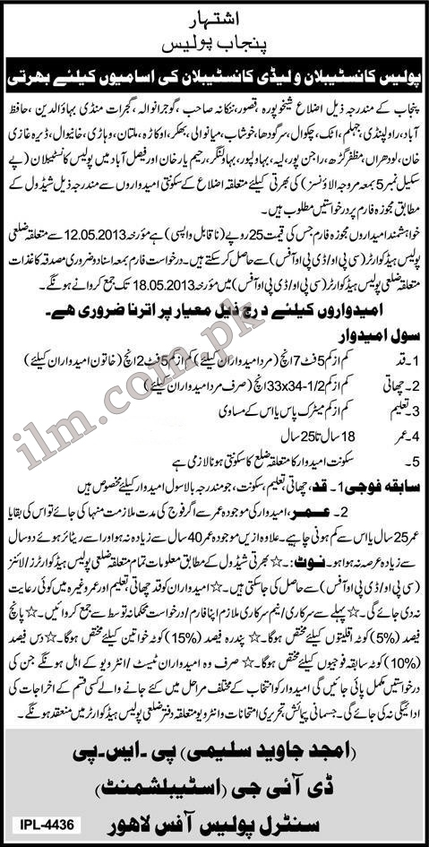 Punjab Police Constable or Lady Constable Jobs 2013