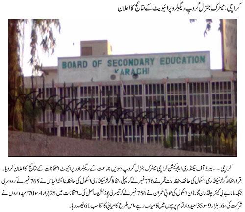 BIEK Karachi Board Matric Result 2018 Arts, Science Group
