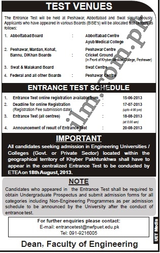 ETEA Entry Test 2013 Schedule For Medical, Engineering Forms