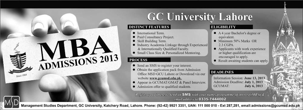 GC University Lahore MBA Admission 2013