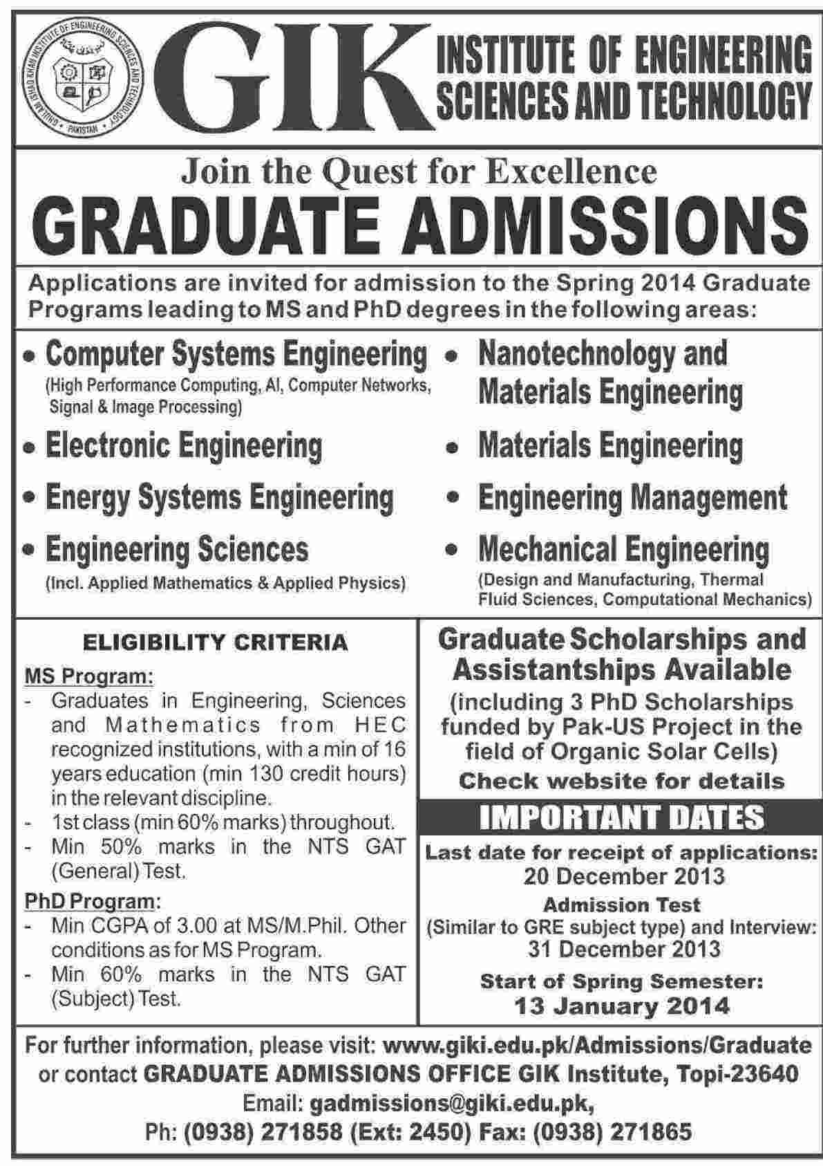 GIKI Graduate MS, PhD Admissions 2014 Entry Test Date Result Form