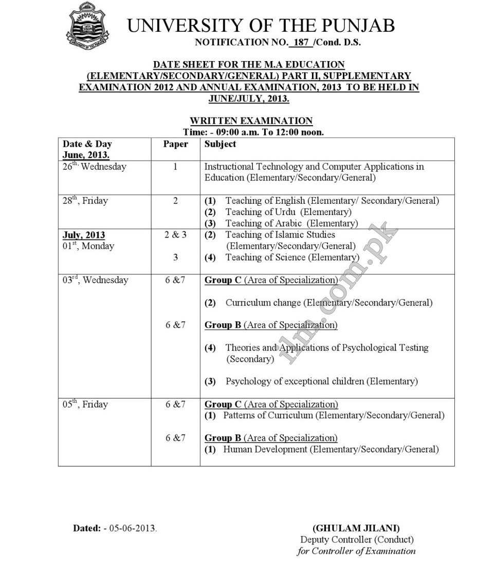 Punjab University PU MA Education Part 2 Date Sheet 2013
