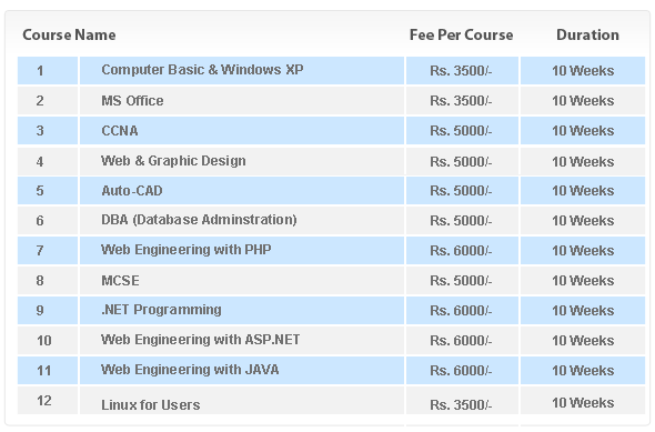 PUCIT Short Courses 2014 list in Professional Software & Hardware