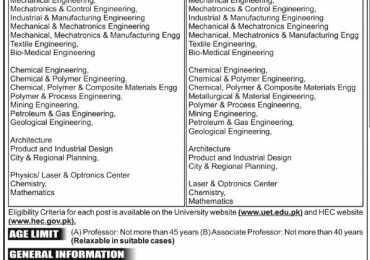 UET Lahore Professor, Associate Professor Jobs 2013