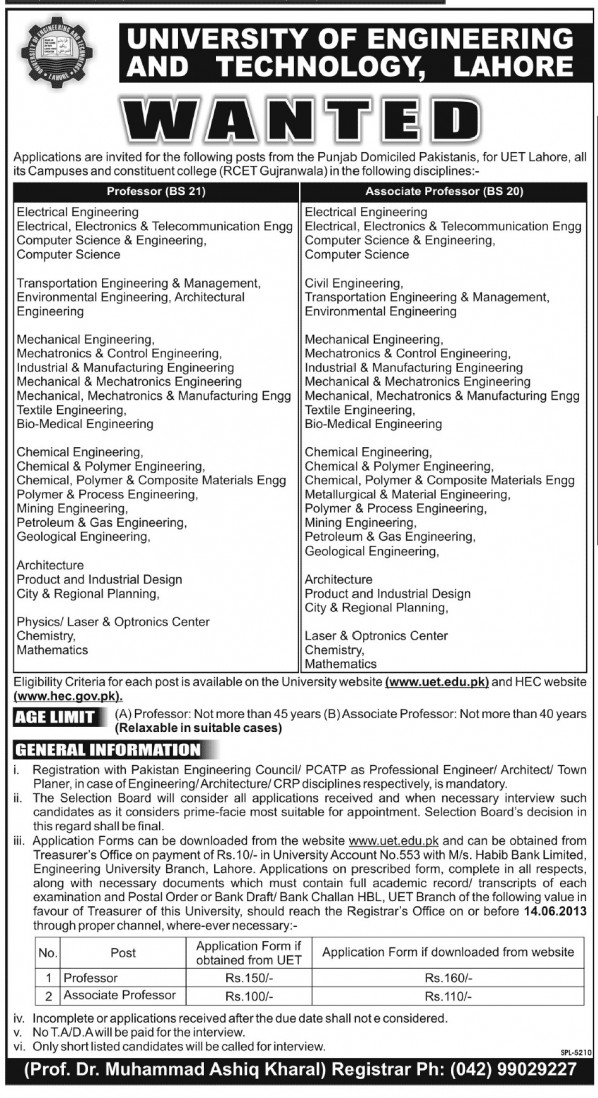 UET Lahore Professor, Associate Professor Jobs 2013