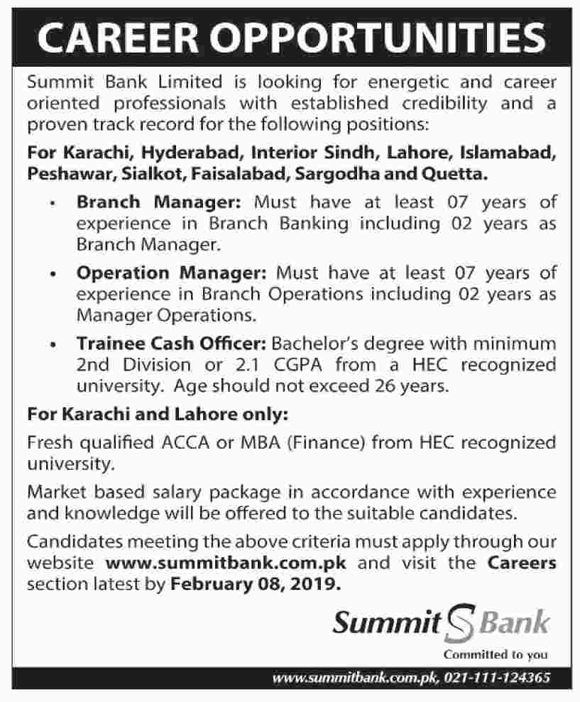 Summit Bank Trainee Cash Officer Jobs 2019 Apply Online