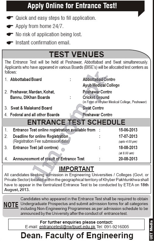 UET Peshawar Entry Test Date 2013 and Schedule Registration Form