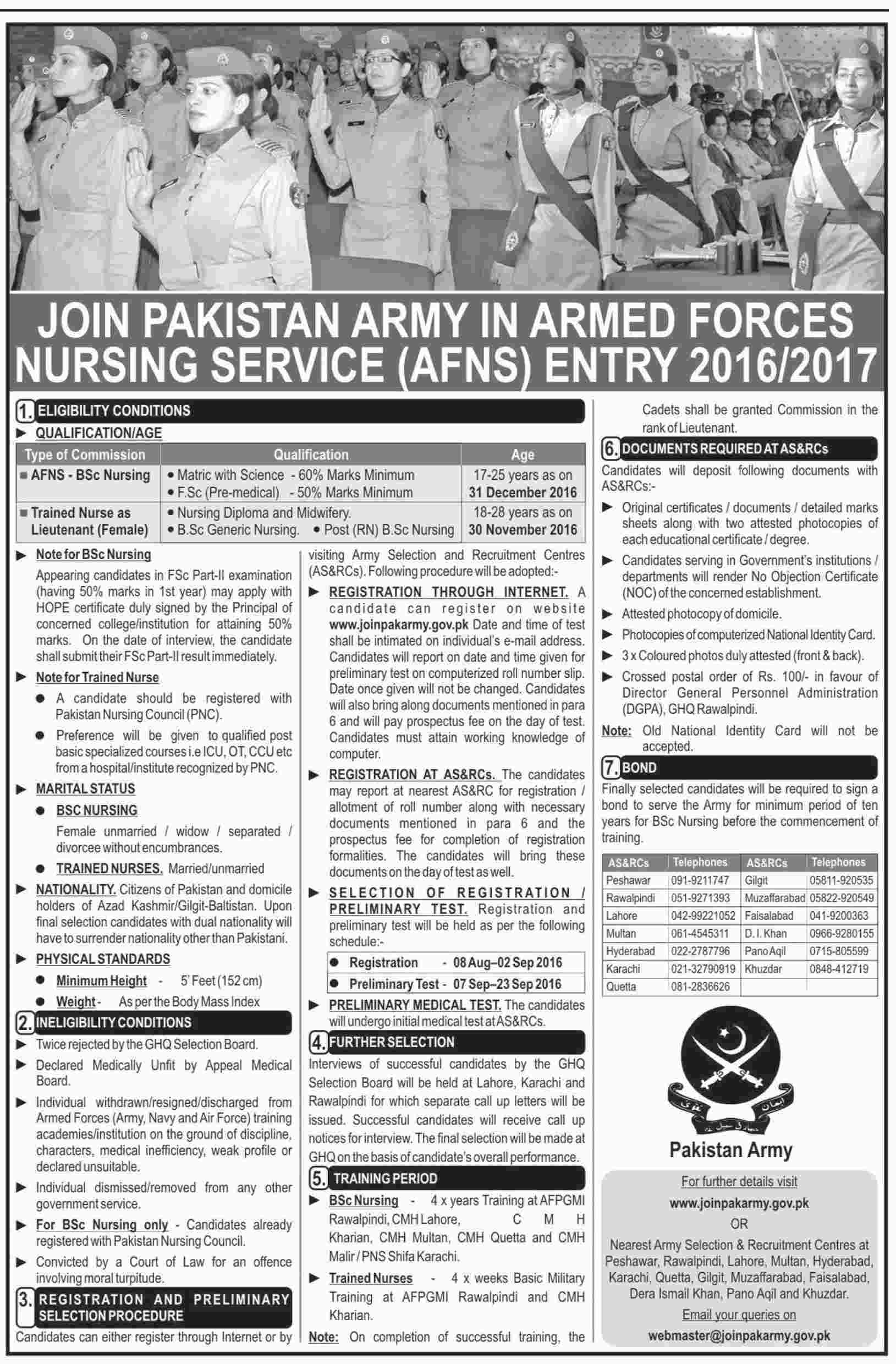 Join Pak Army as Armed Forces Nursing Service AFNS 2016 Online Registration