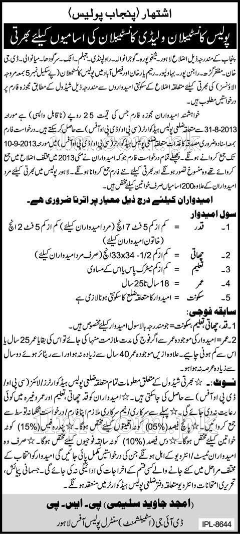 Punjab Police Constable and Lady Constable Jobs 2013