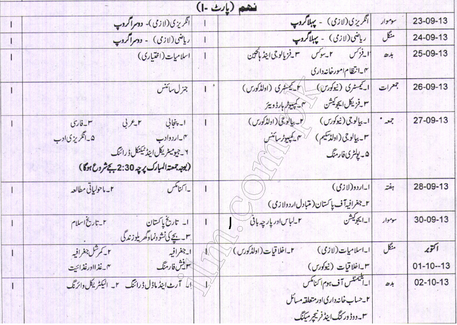 Gujranwala board 9th class Supply Exam Date Sheet 2013