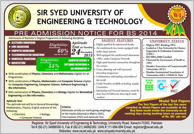 Sir Syed SSUET Admission 2014 Form Test Schedule