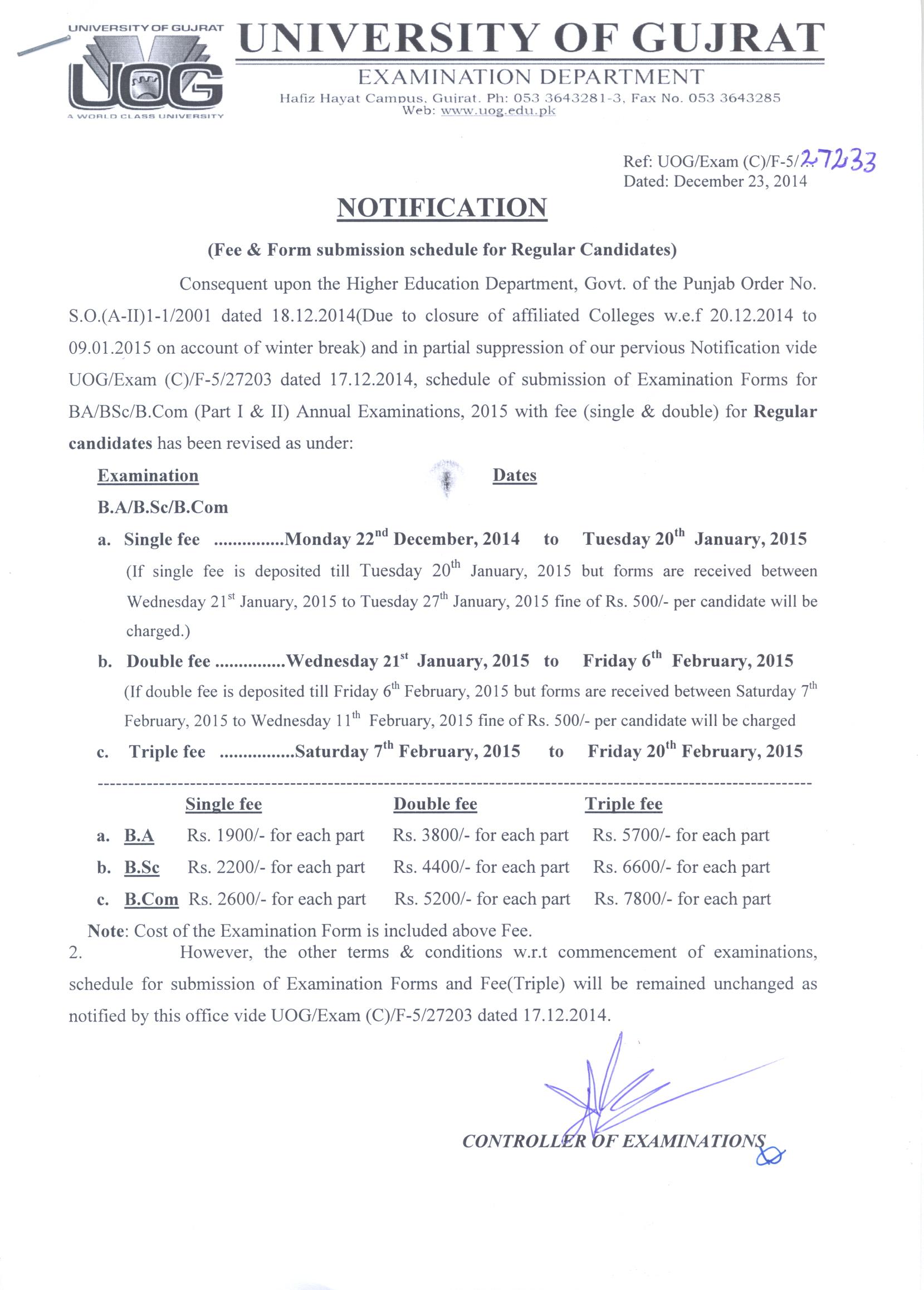 University of Gujrat BA/BSc, MA/MSc Registration Schedule 2015