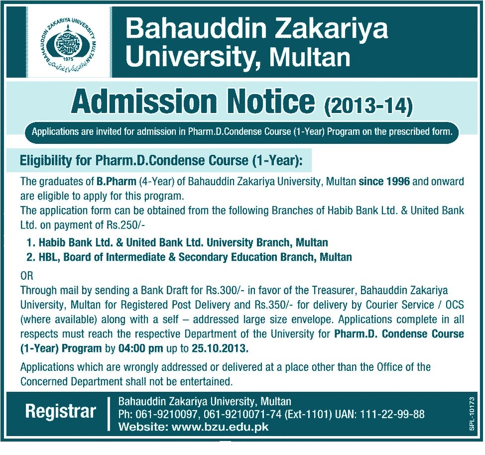 Bahauddin Zakariya University BZU Multan Pharm D Admission 2013