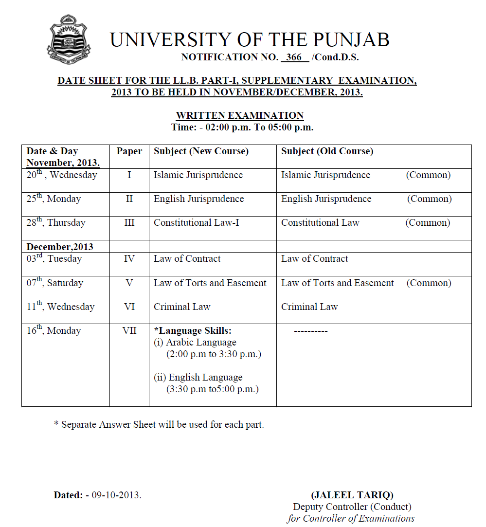 DATE SHEET FOR THE LL.B. PART-I, SUPPLEMENTARY EXAMINATION, 2013