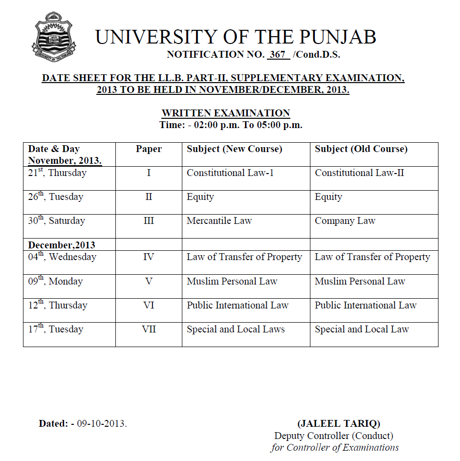 DATE SHEET FOR THE LL.B. PART-II, SUPPLEMENTARY EXAMINATION, 2013