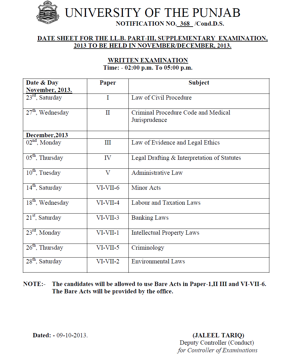 DATE SHEET FOR THE LL.B. PART-III, SUPPLEMENTARY EXAMINATION, 2013
