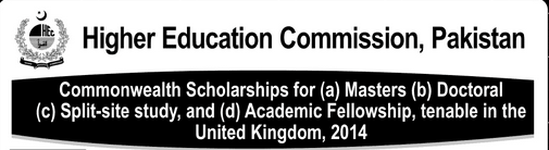 HEC Commonwealth Scholarship For Master, Doctoral United Kingdom 2013
